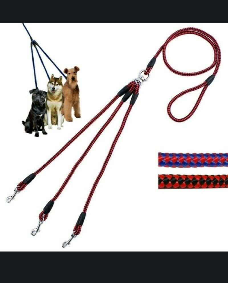Pink & Blue 3 Way No Tangle Dog, Cat Or Any Type Pet Leash Nylon