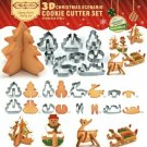 8pcs 3D Christmas Cookie Cutter Food Grade Stainless Steel Biscuit Mold Set