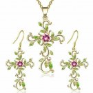 Cross Pendant Necklace and Earrings Jewelry Set   18""
