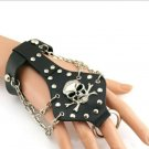 Holloween Skull Slave Bracelet With Finger Ring 8 3/4""