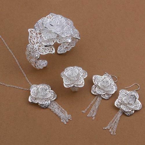 "Stunning Filigree Rose Necklace Set   Silver Plated  18"" 2.5"" Extender"