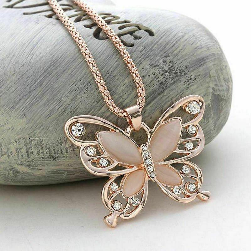 """Rose Gold CZ Opal Butterfly Pendant Necklace  28"""""""