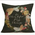 "18""X18"" Fall Linen Pillow Case ""Be Thankful. for All Things"""