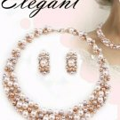"Elegant Rose Gold Faux Pearl Necklace Set. 16"" -  2 3/4"" EXT Earrings 1"" X 2/3"""