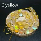 """8mm Yellow Dull Frosted Crystal Beads. 46/15"""" Strand"""