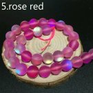 "12mm Rose Red Dull Frosted Round Beads. 28/15"" Strand"