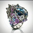 Spider 925 Sterling Plated Floral Ring 2.36ct Oval Blue Sapphire CZ Size 5 - 10