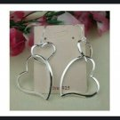 Silver Double Heart Dangle Earrings 2 1/3""