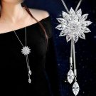 "Crystal Rhinestone Snowflake Pendant Necklace  36"""