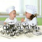 24pc Children's Stainless steel Cookware Kitchen Cooking Set Pots & Pans Toy