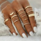 12pcs Gold Plate Stack Knuckle Rings  Mixed Sizes 5-8