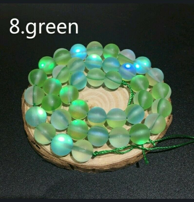 """10mm Green Dull Frosted Round Crystal Beads. 36/15""""  Strand"""
