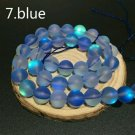 "8mm Blue Dull Frosted Round Crystal Beads 46/15"" Strand"