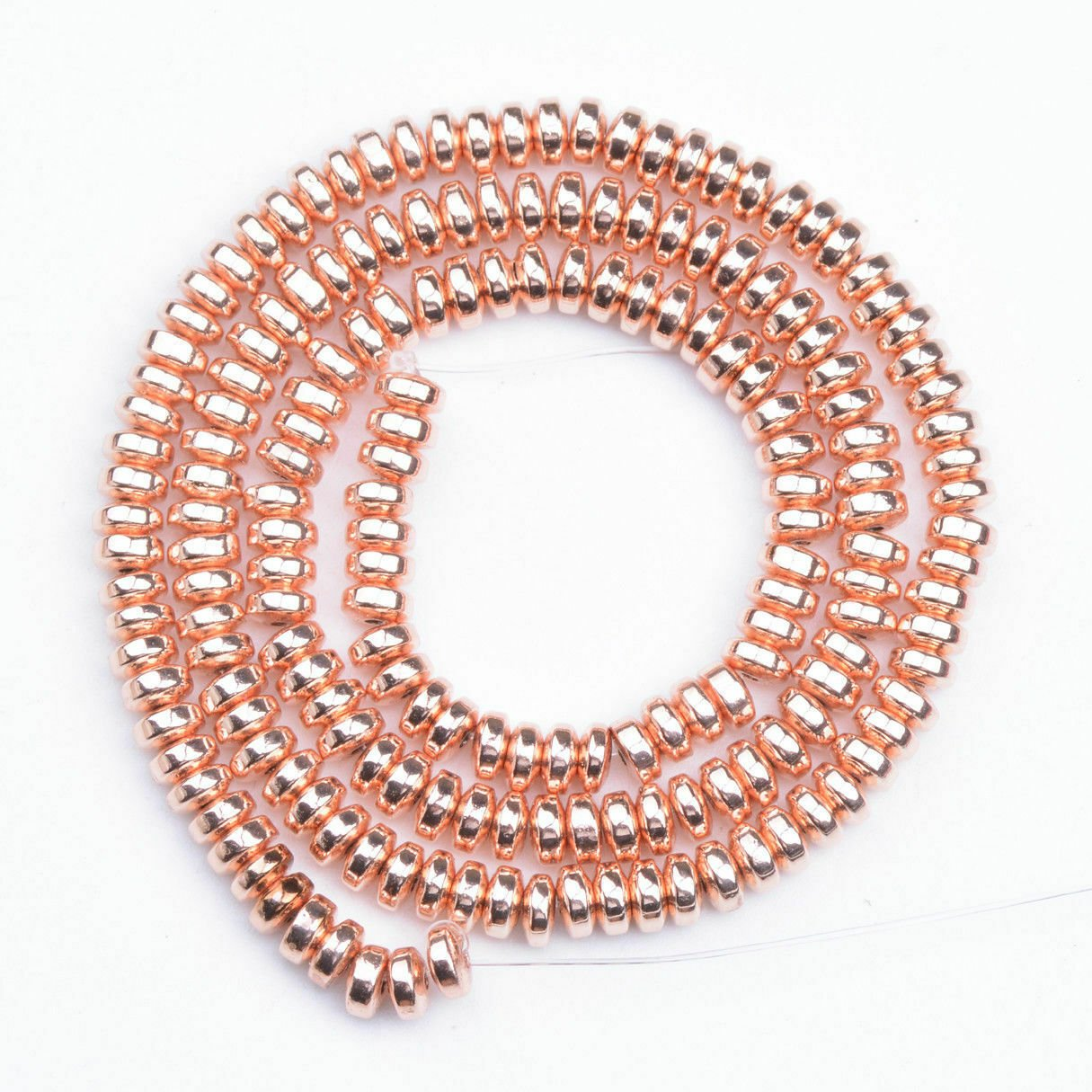 """Rose Gold Plated Hematite Rondelle Loose Spacer Beads  6mm 15"""""""