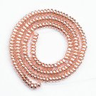 Rose Gold Plated Hematite Rondelle Loose Spacer Beads  6mm 15""