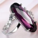 Sterling Silver Plate Amethyst & White Australian Crystal Ring Size 10