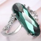 Sterling Silver Plate Emerald & White Australian Crystal Ring Size 10