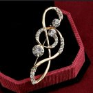 """Music Note Brooch 18kt Gold Plate 2 1/4"""" X 3/4"""""""