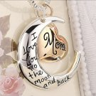 """Mom Rose Gold Heart & Moon Necklace  20"""""""