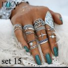 15pc CZ Blue & White Midi Rings Silver Plate