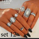7pc CZ Opal BOHO Silver Ring Set