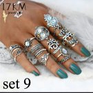 17pc Silver Midi Finger BOHO Ring Set Silver Plate