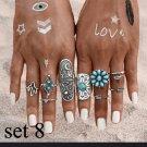 9pc CZ Turquoise Fashion Midi Finger BOHO Ring Set Silver Plate
