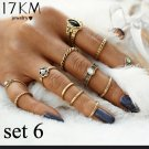 12pc CZ Stones BOHO Fashion Ring Set Gold Plate