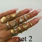 15pc Midi Finger BOHO Ring Set Gold Plate