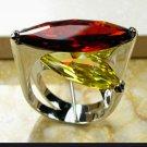 Huge Tantilizing CZ Garnet and Citrine Ring Sterling Silver Filled size 7