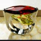 Huge Tantilizing CZ Garnet and Citrine Ring Sterling Silver Filled size 10