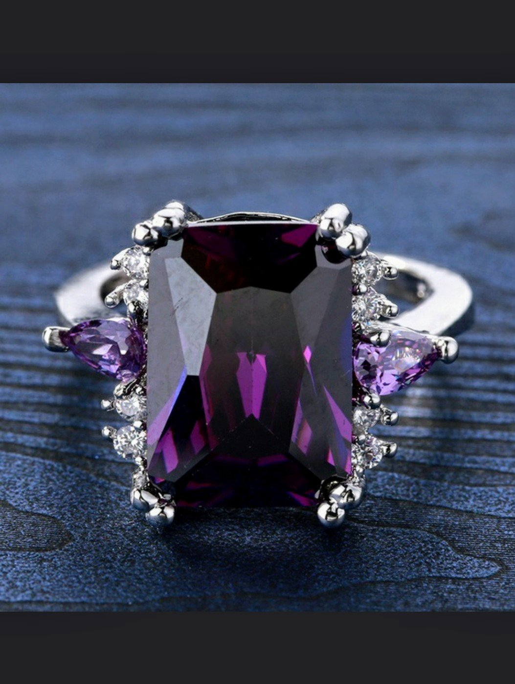 5.68ct Natural Amethst Solitare with Accents Sterling Silver Filled Size 8