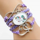 Purple Unicorn Bracelet 6""