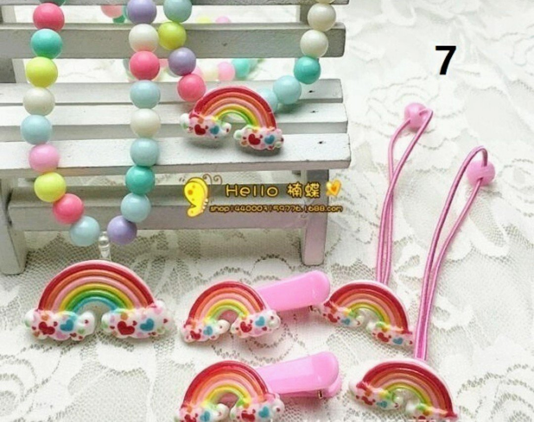 Rainbow Jewelry Set with Hair Assessaries