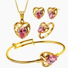 4pc 18kt Gold Plate Children's Rhinestone Necklace Set