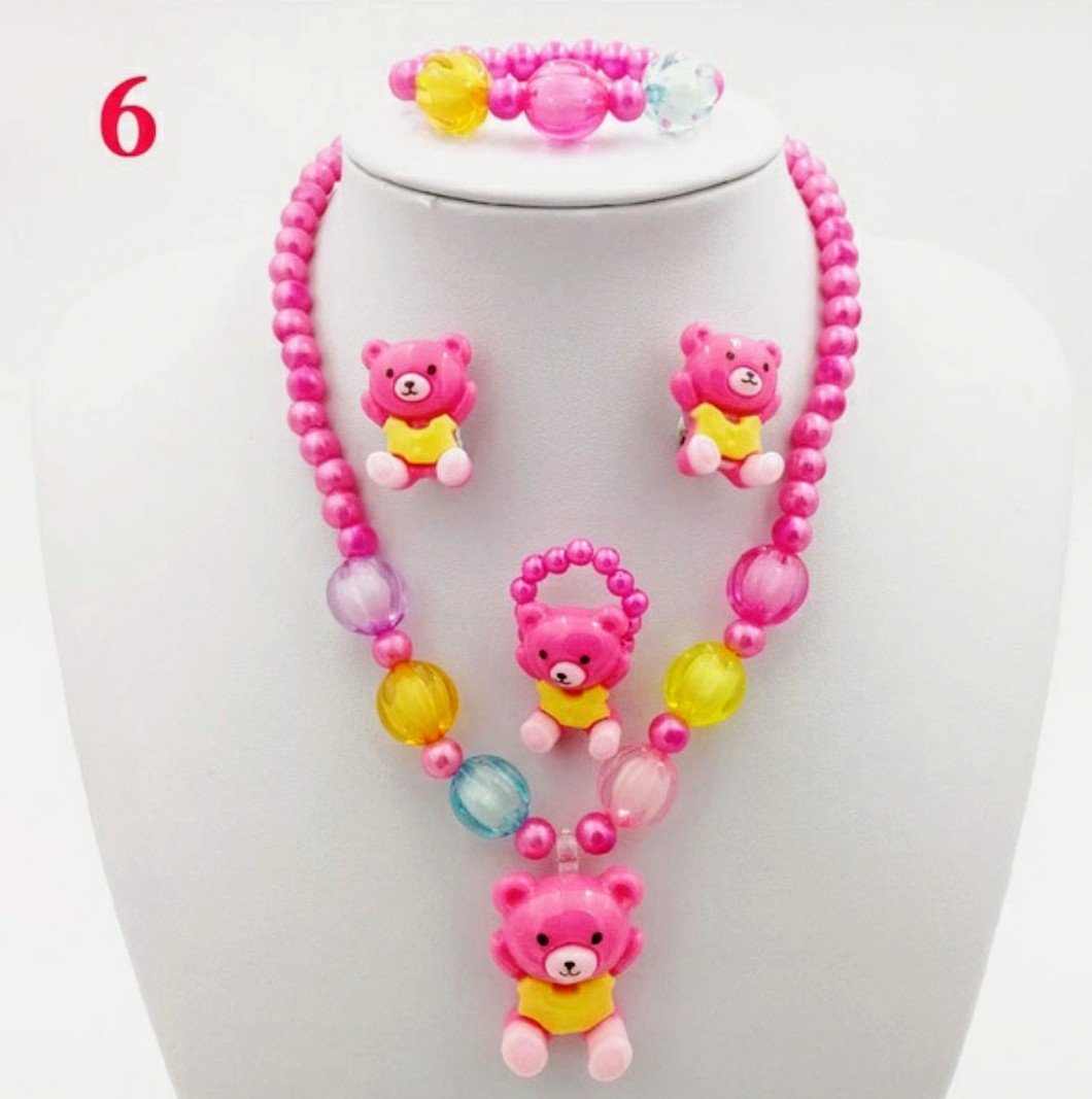 4pc Pink Beaded Bear Jewelry Set
