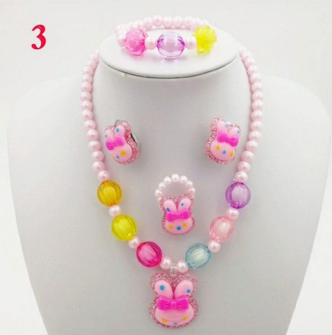 4pc White Beaded Bunny Jewelry Set