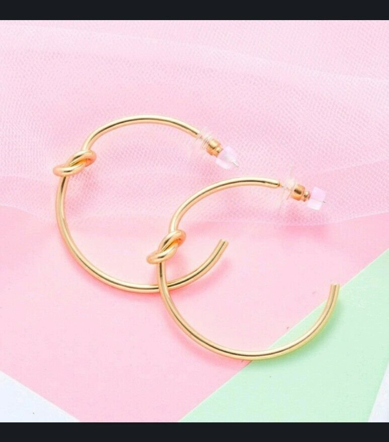 18k Gold Plate over Cooper Knotted Earrings Studs