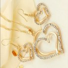 Gold or Silver 3 Piece Heart Crystal Set