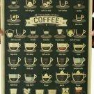 "Coffee Menu ""36 Ways To Make A Perfect Coffee""  Sign Metal 14""x20"""
