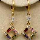 "18k Gold Plate Hollow Multi-Color CZ Leverback Earrings 1 1/2"" X 1/2"""