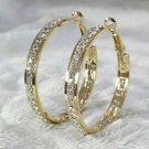 18k Gold Plate CZ Round Snap Closure Hoop Earrings