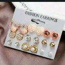 9 Pairs Elegant Crystal Earrings Studs