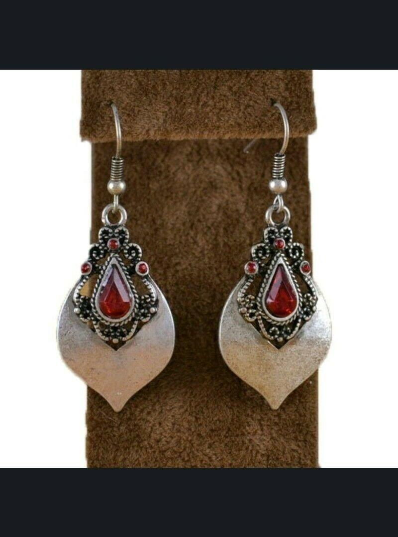 Tibetan Silver Drop Dangle Earrings Ruby CZ, White CZ