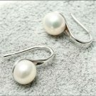 Dangle Freshwater Pearl Earrings 7-7.5mm AA Flat Bottom Sterling Silver Plated