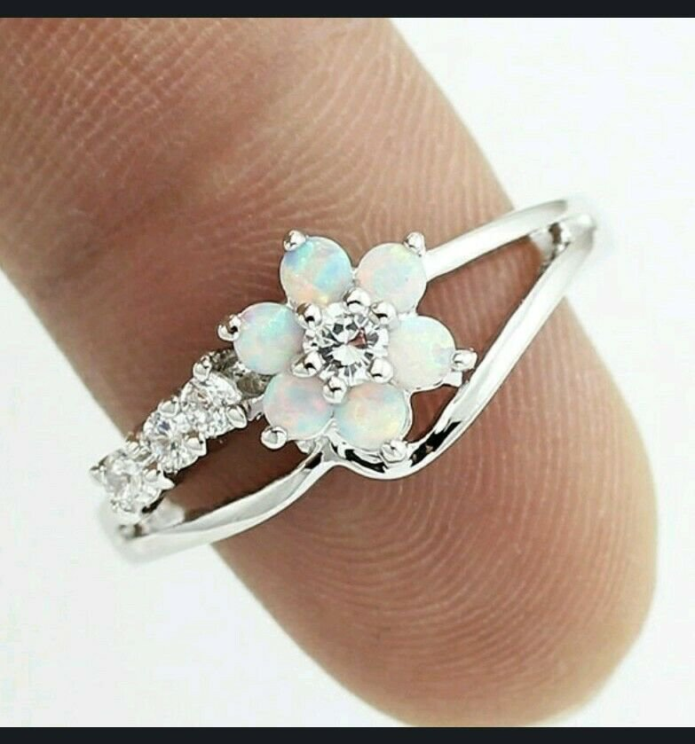CZ White Fire Opal CZ Ring 925 Silver Plated 6, 7, 8