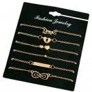 "6pc Gold Plate Bracelet Set ""Heart Round Blank Plate Double Heart Dove infinity"""