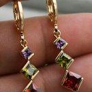 Amethyst, Peridot, Ruby CZ Dangle Leverback Earrimgs Gold Plate