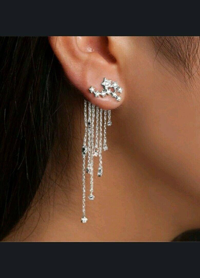 Rhinestone Shooting Star Long Dangle Earrings Silver Plate