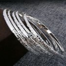 5 Pc Set Sterling Silver Plate Bangles 925 Plate
